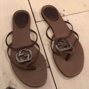 Authentic Tan Gucci Logo Flip Flops Size 39/9